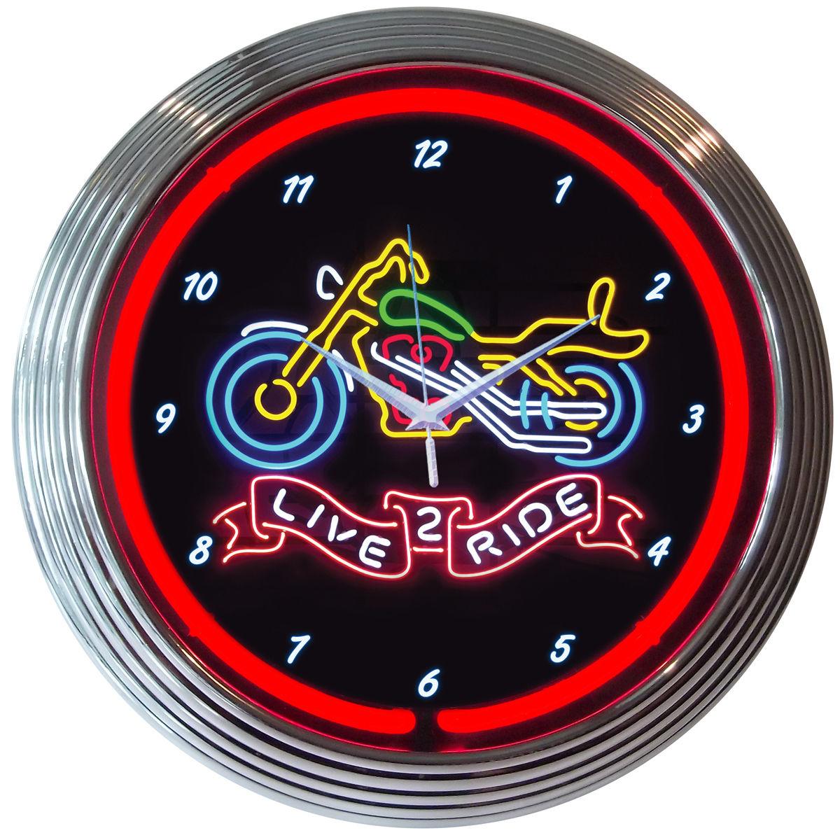Live 2 Ride Motorcycles Neon Clock