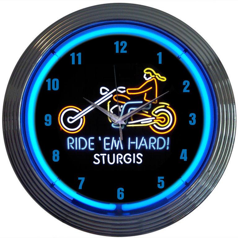 Motorcycle Sturgis Neon Clock