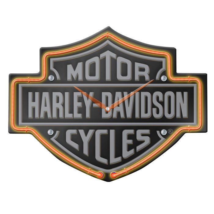 Harley-Davidson Etched B&S Shaped Neon Clock HDL-16651
