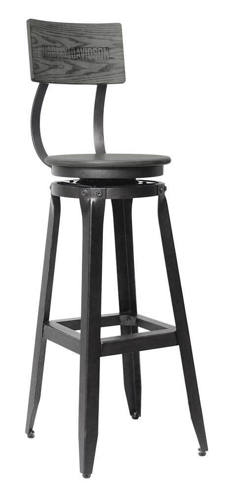 Harley-Davidson BAR & SHIELD WOOD BACKREST BAR STOOL HDL-12212