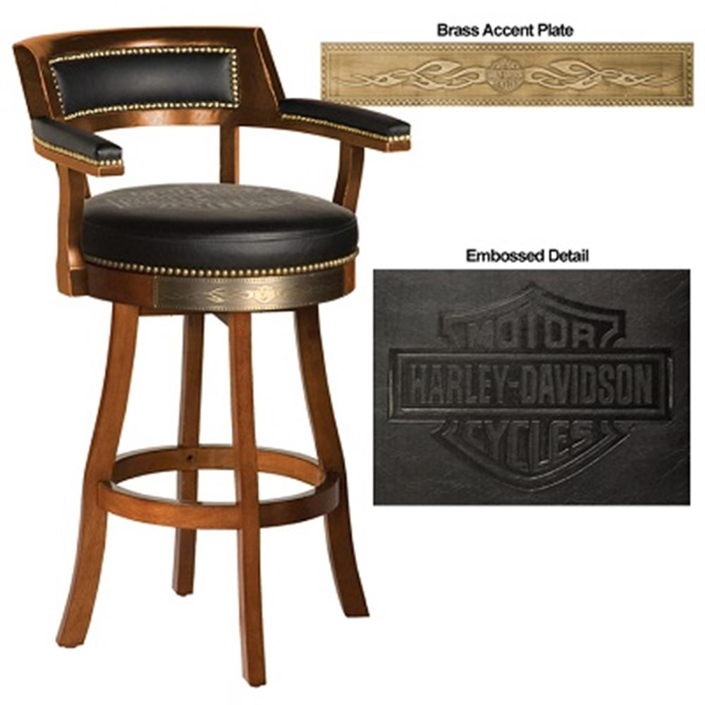 Harley-Davidson B&S Flames Bar Stool w/ Backrest Heritage Brown Finish HDL-13110-H