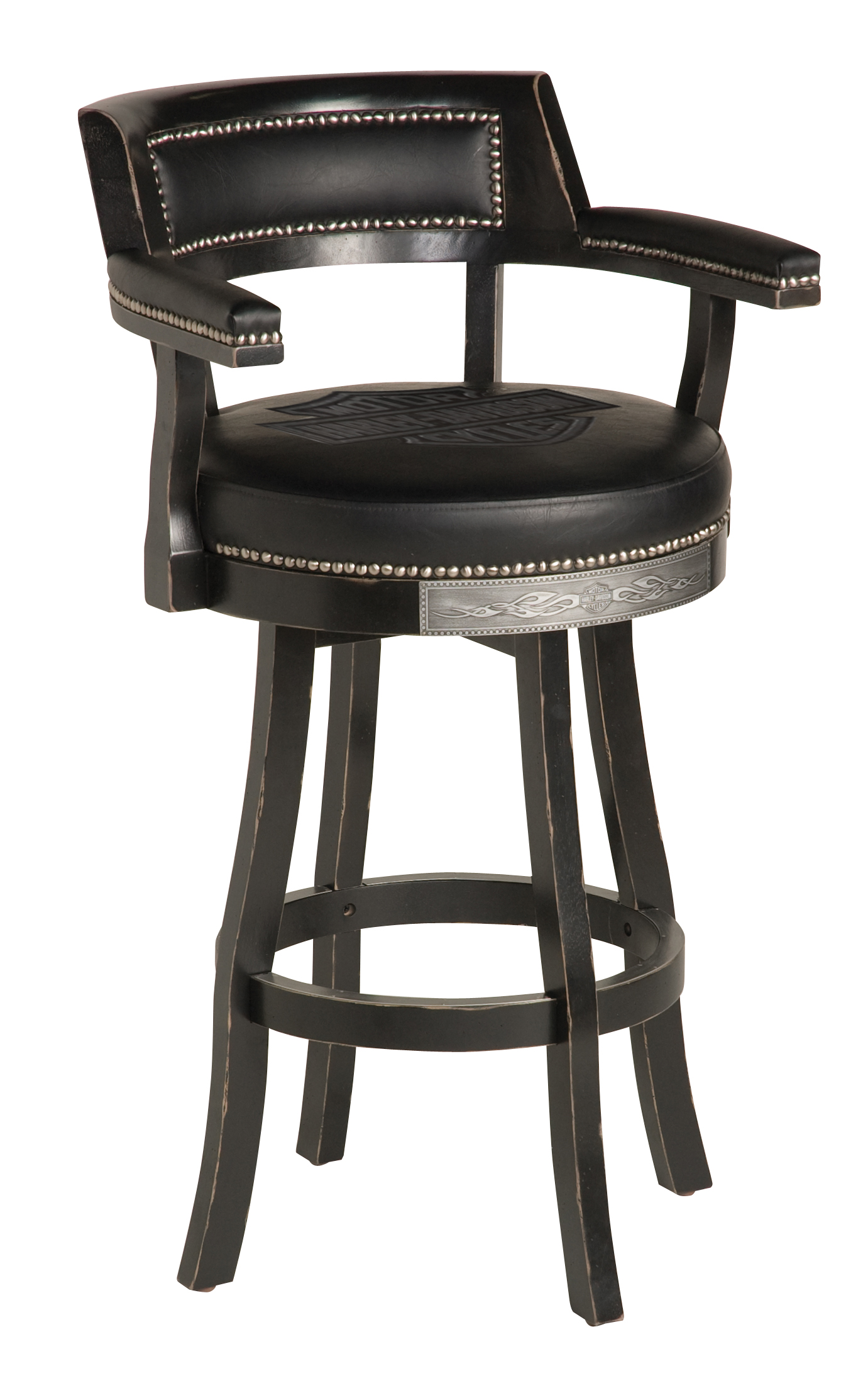 Harley-Davidson B&S Flames Bar Stool w/ Backrest Vintage Black Finish HDL-13110-V