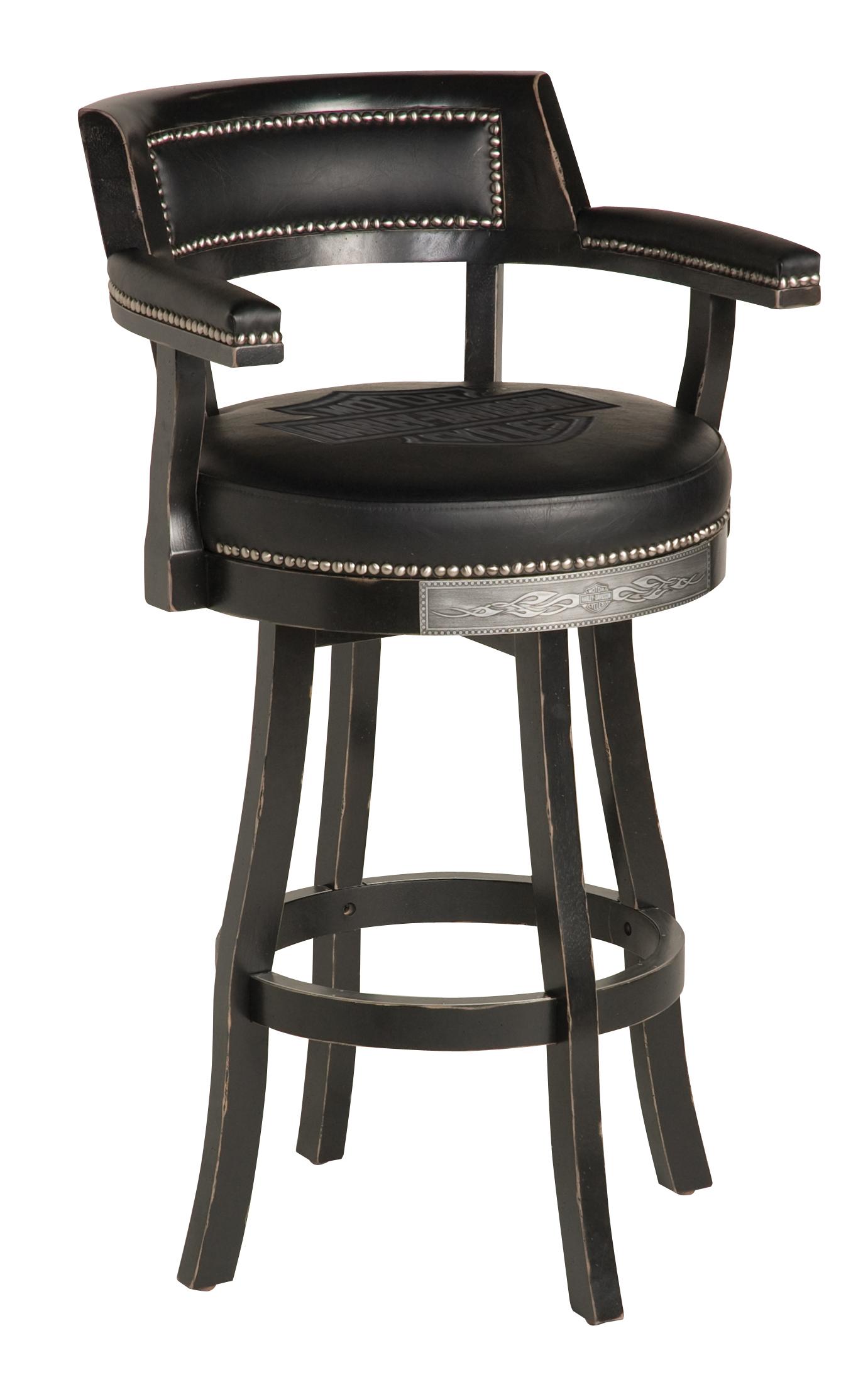 Harley-Davidson B&S Flames Bar Stool w/ Backrest Vintage Black Finish HDL-13110-V