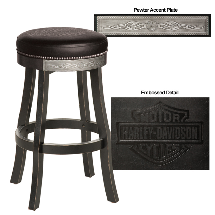Harley-Davidson B&S Flames Bar Stool Vintage Black Finish HDL-13120-V