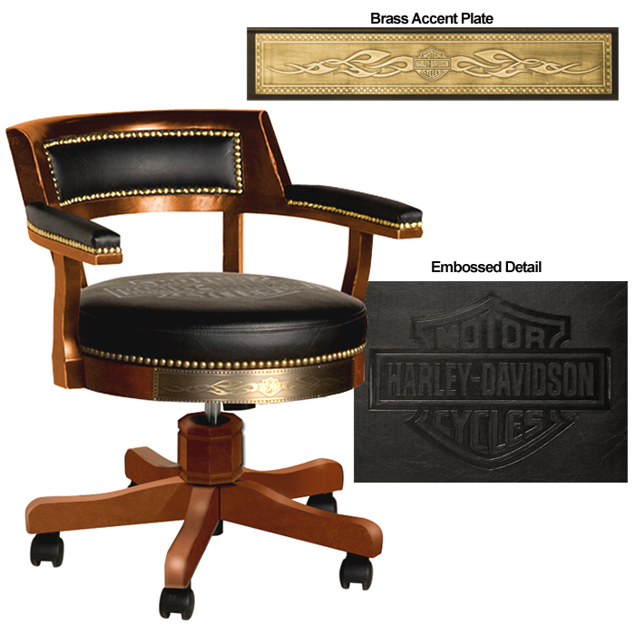 Harley-Davidson B&S Flames Poker Chair Heritage Brown Finish HDL-13140-H