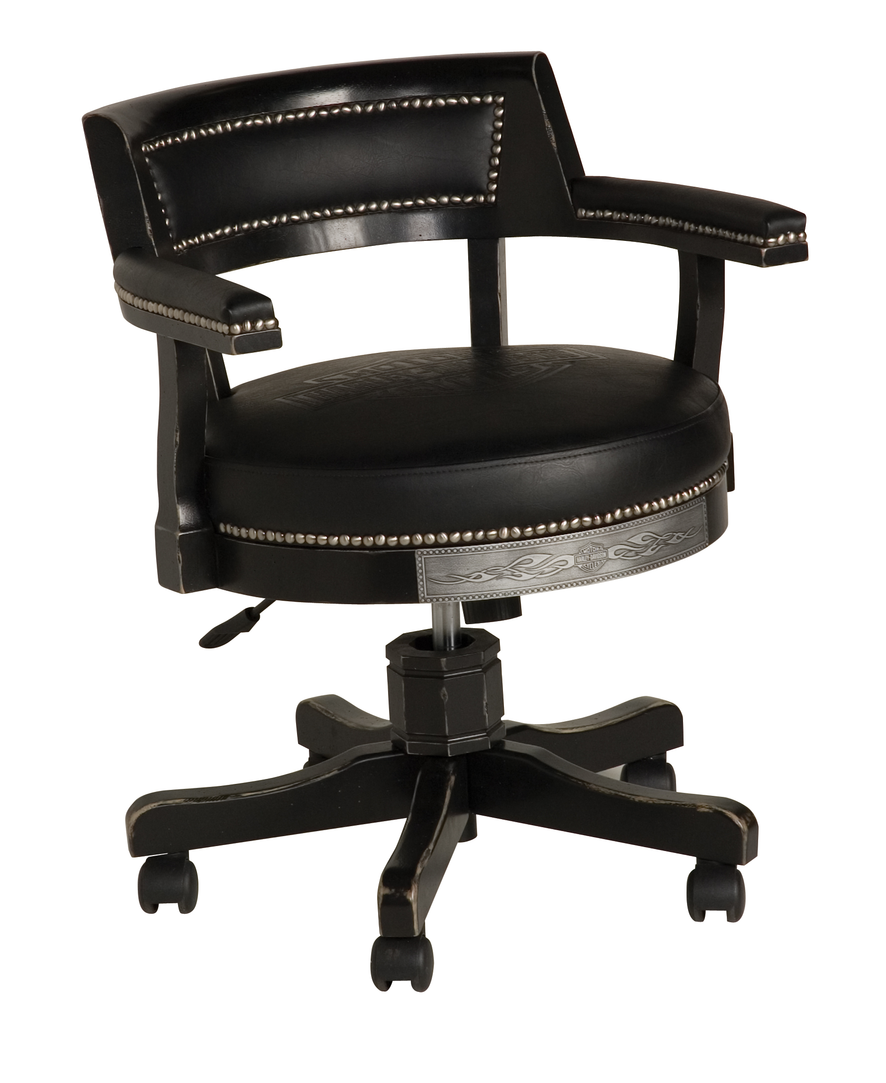 Harley-Davidson B&S Flames Poker Chair Vintage Black Finish HDL-13140-V