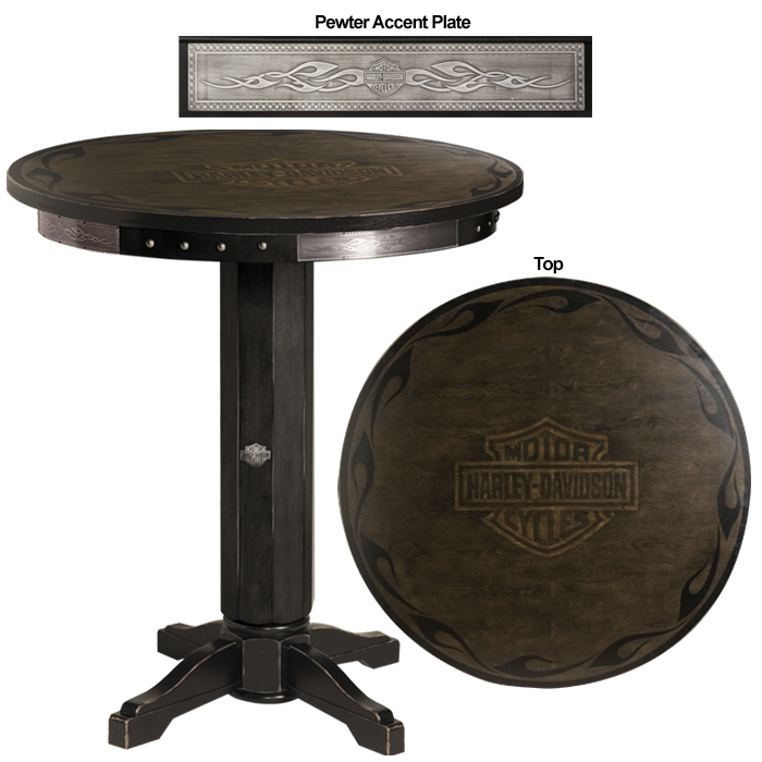 Harley-Davidson B&S Flames Pub Table Vintage Black Finish HDL-13200-V
