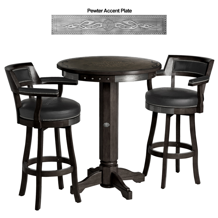 Harley-Davidson B&S Flames Pub Table & Backrest Stool Set Vintage Black HDL-13201-V