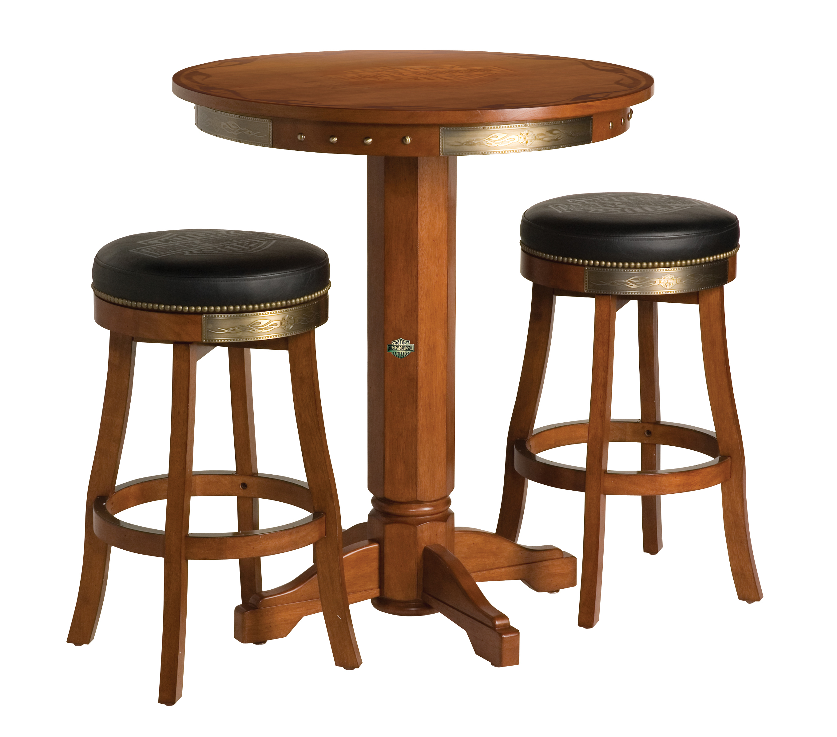 Harley-Davidson B&S Flames Pub Table & Stool Set Heritage Brown Finish HDL-13202-H