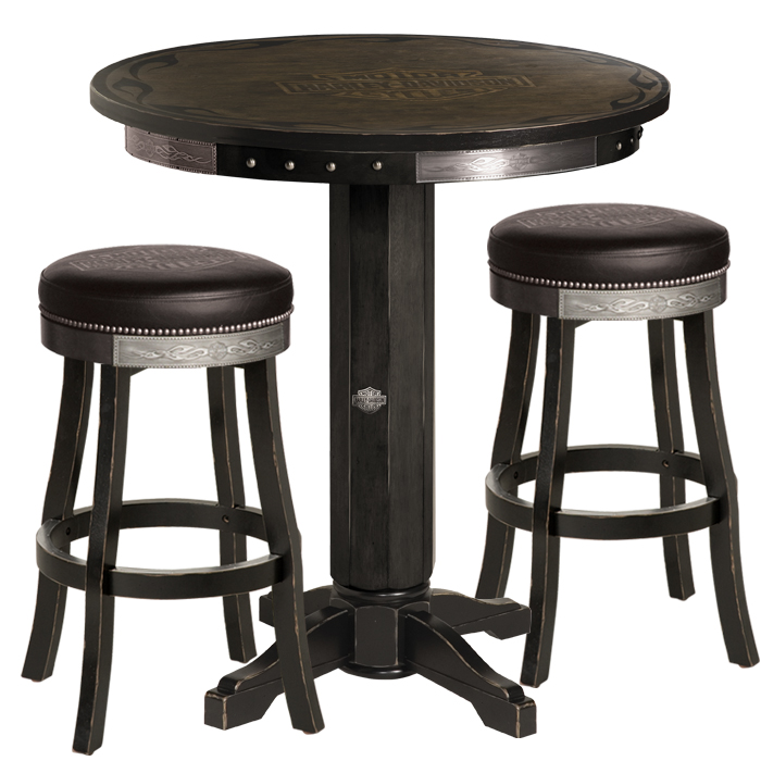 Harley-Davidson B&S Flames Pub Table & Stool Set Vintage Black Finish HDL-13202-V