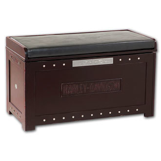 Harley-Davidson B&S Flames Storage Bench Heritage Brown finish HDL-13601-H