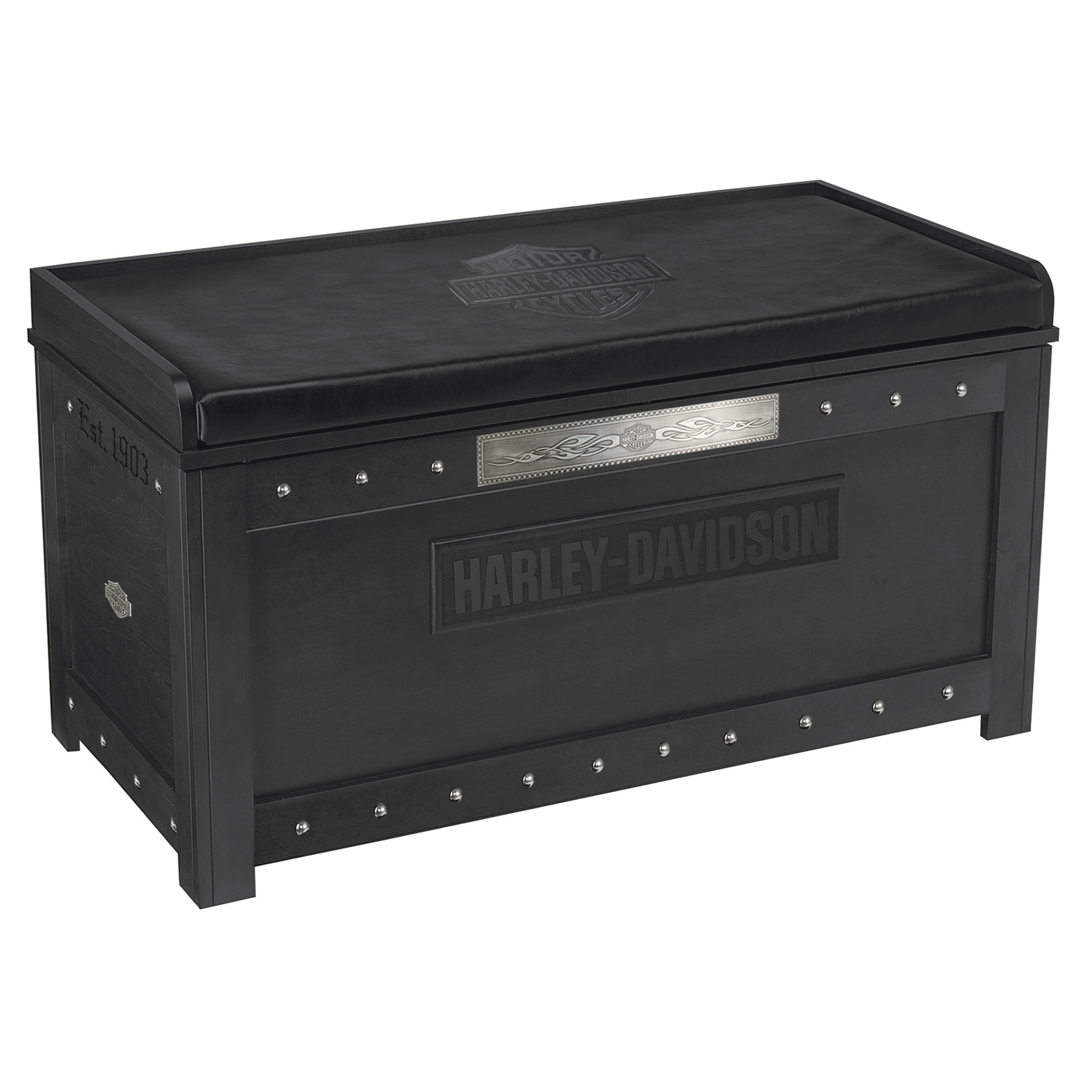 Harley-Davidson B&S Flames Storage Bench Vintage Black finish HDL-13601-V