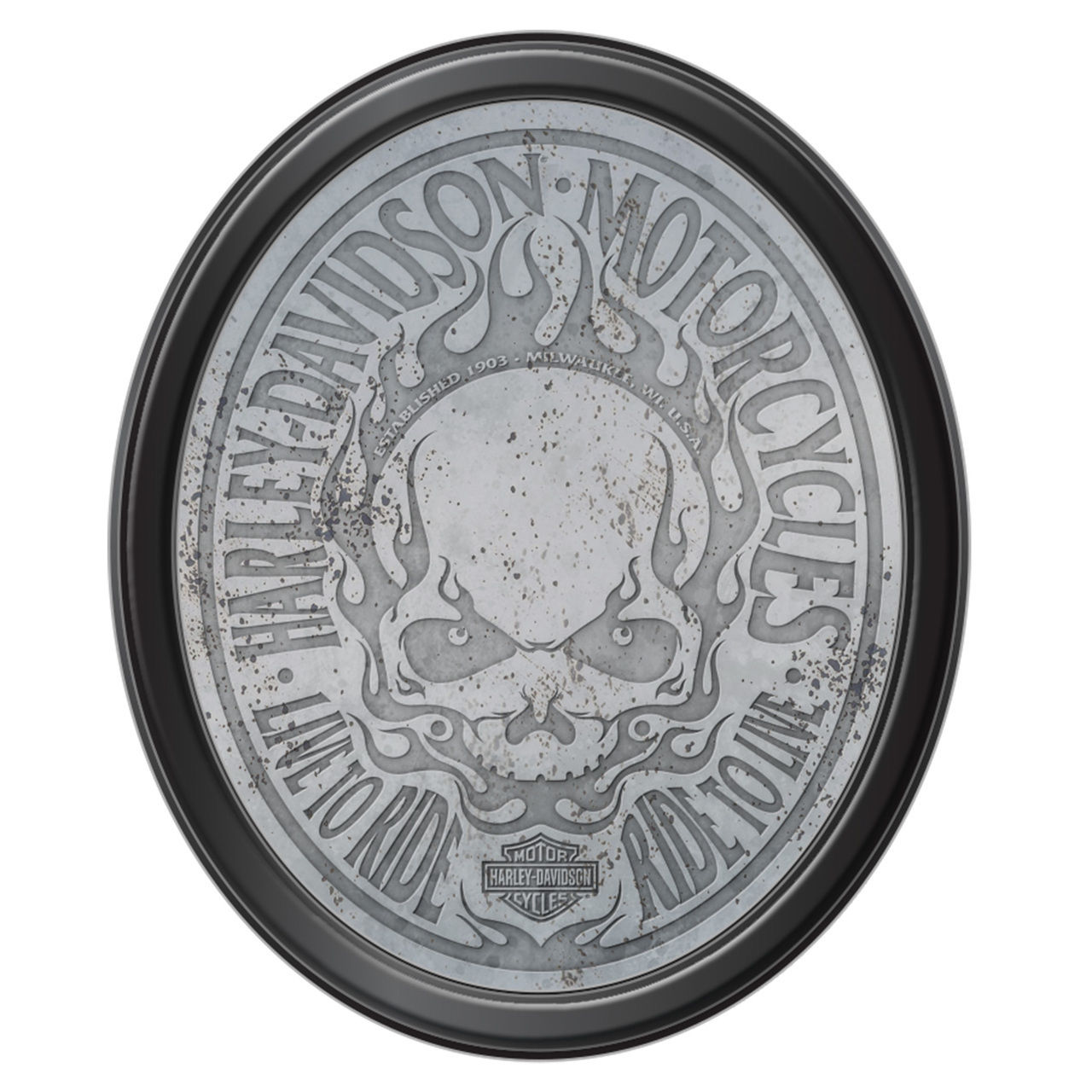 Harley-Davidson Flaming Skull Antiqued Mirror & Black Frame HDL-15227