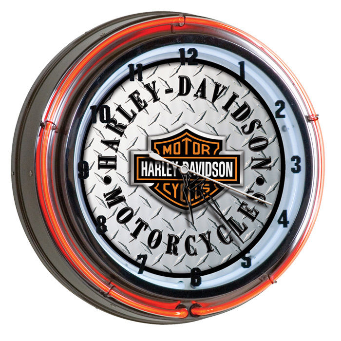 Harley-Davidson Bar & Shield Diamond Plate Double Neon Clock HDL-16611