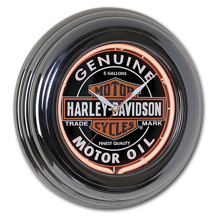 Harley-Davidson Oil Can Neon Clock HDL-16617