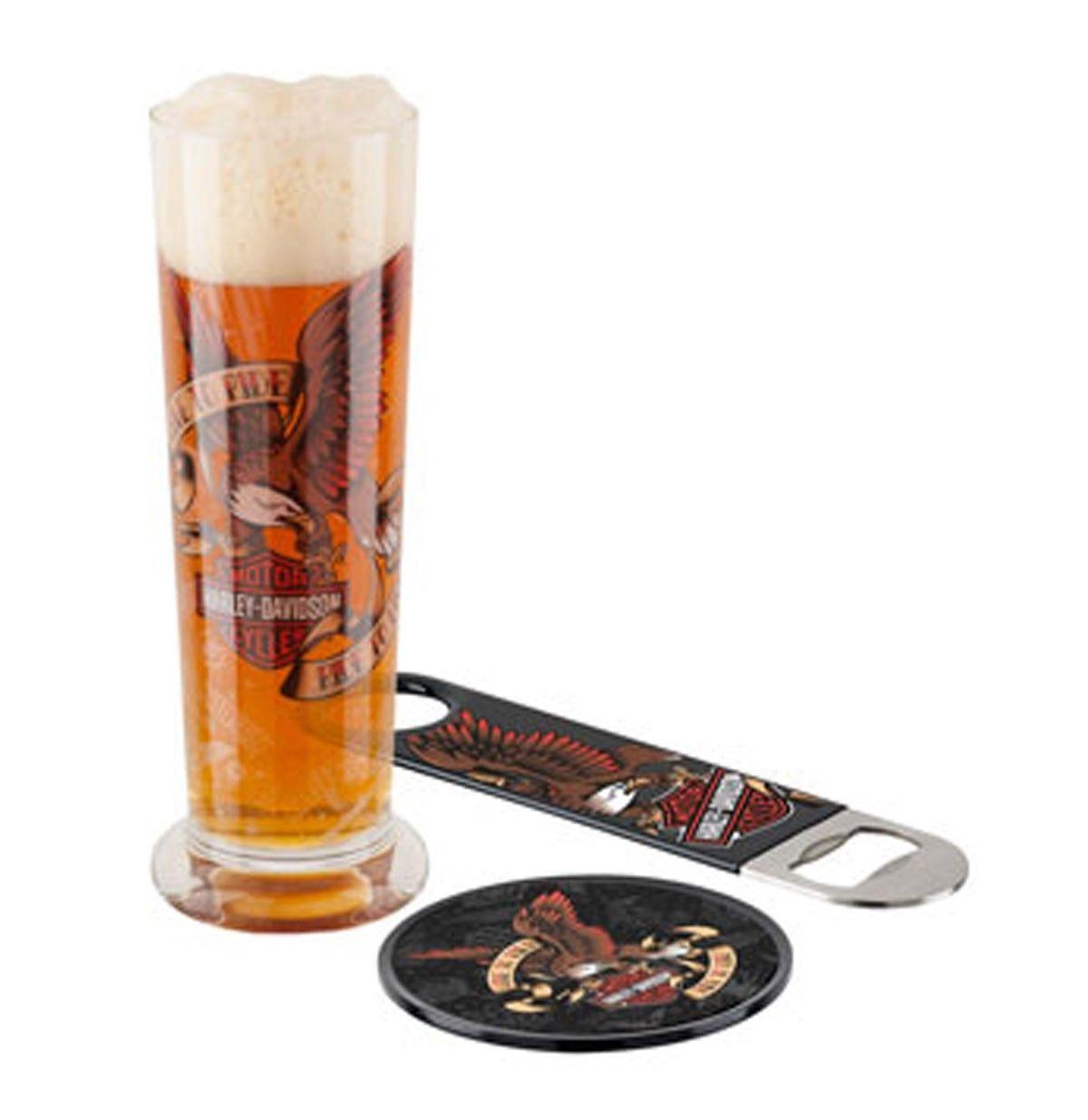 Harley-Davidson LTR-RTL Biker Eagle Pilsner Beer Glass Set HDL-18752