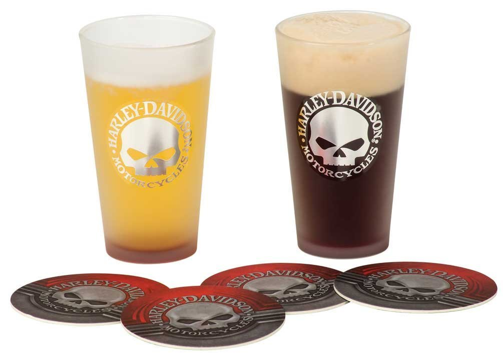 Harley-Davidson Skull Pint Glass & Coaster Set HDL-18763