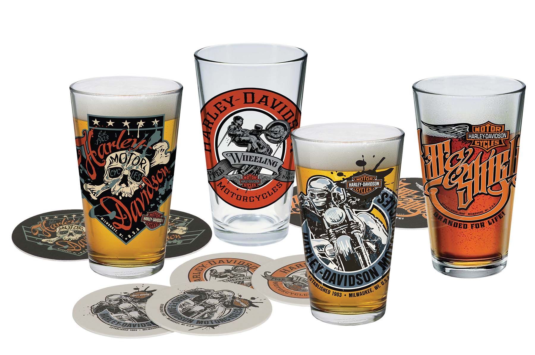 Harley-Davidson Free Wheeling Pint Glass Set HDL-18778